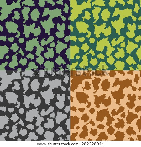 A set of abstract seamless color camouflage patterns
