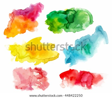 A set of abstract watercolour stains in various colours, scalable vector graphic; paint brush strokes in purple and orange, green, yellow, teal blue, pink, and red; handmade textures for design - stock vector