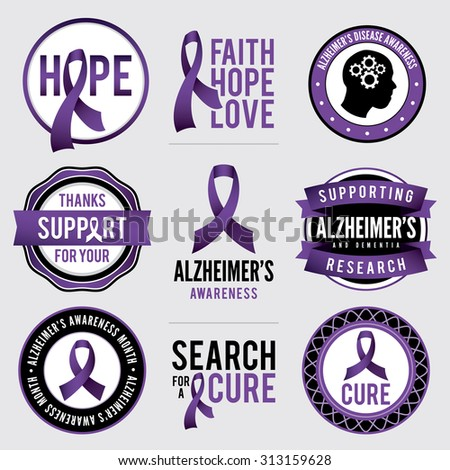 A set of Alzheimer's disease awareness badges and labels. Vector EPS 10. - stock vector