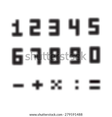 A set of amazing fuzzy numbers. Blurred numbers from 0 to 9. The plus sign, minus, divide, multiply, as well. - stock vector