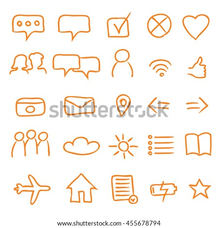 A Set of 25 Authentic Multipurpose App Icons and Symbols - Orange Elements on White Background - Infographic Pictogram Sketch Style - stock vector