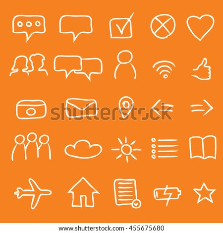 A Set of 25 Authentic Multipurpose App Icons and Symbols - White Elements on Orange Background - Infographic Pictogram Sketch Style - stock vector