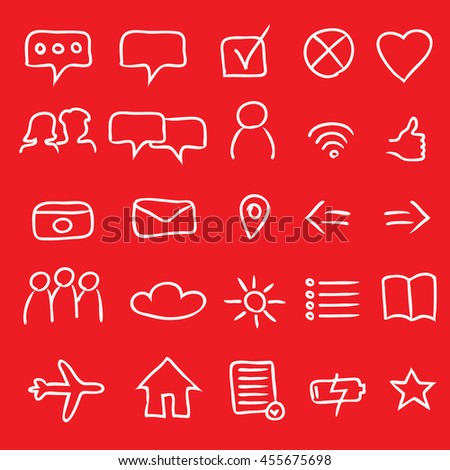 A Set of 25 Authentic Multipurpose App Icons and Symbols - White Elements on Red Background - Infographic Pictogram Sketch Style  - stock vector