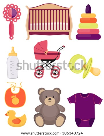 A set of baby accessories and toys isolated on white background. Vector illustration - stock vector