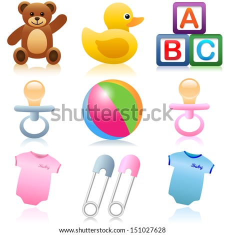 A set of baby and child icons - stock vector