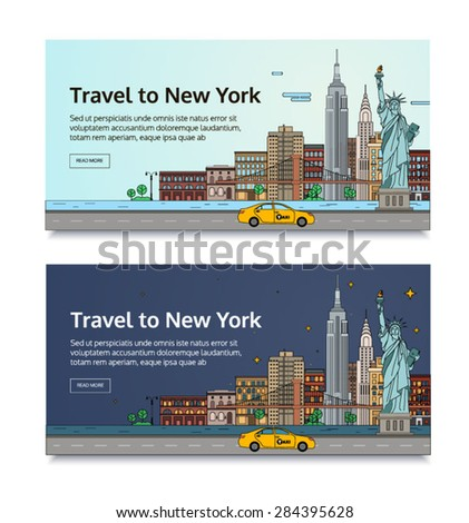 A set of banners for the Internet by the landscape of the city. Vector illustration with urban landscape of New York - stock vector