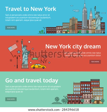 A set of banners for the Internet by the landscape of the city. Vector illustrations with urban landscape of New York - stock vector