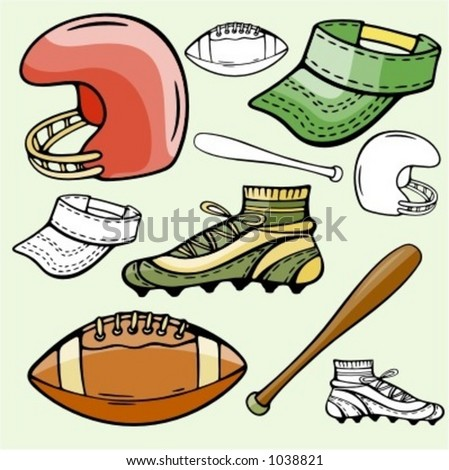 A set of 5 baseball and American football sport icons. Ready-to-cut. Pantone colors. - stock vector