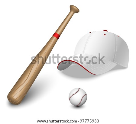 A set of baseball bat, ball and caps - stock vector
