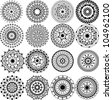 A set of beautiful mandalas and lace circles - stock vector