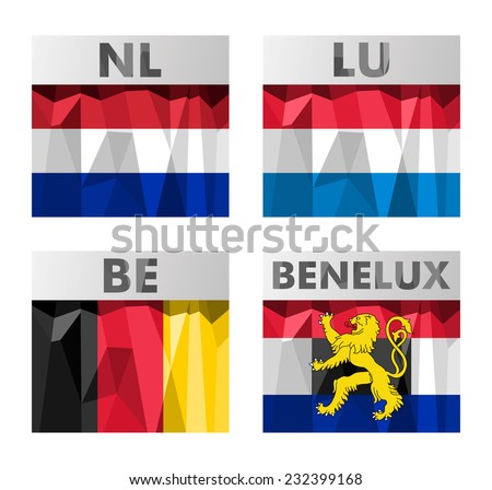 A set of Benelux countries flags in polygonal style. Netherlands, Luxembourg, Belgium and Benelux.  - stock vector