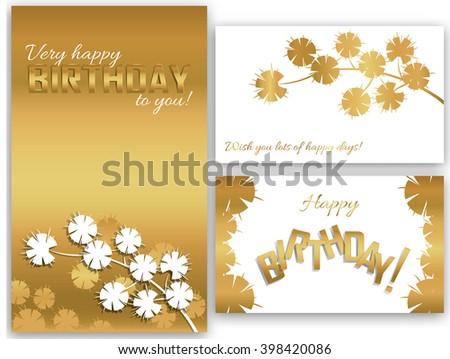 Set Birthday Cards Flowers Branch Stock Vector 398420086 Shutterstock
