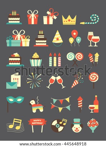 A set of birthday icons - stock vector
