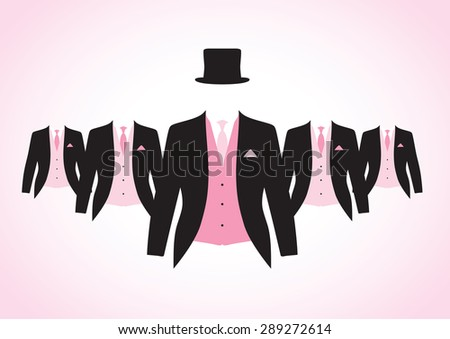 a set of black and pink suits - stock vector