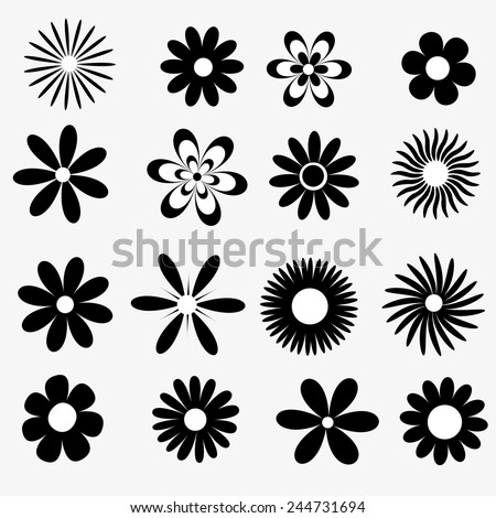 a set of black and white flowers  - stock vector
