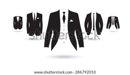 a set of black and white suits - stock vector