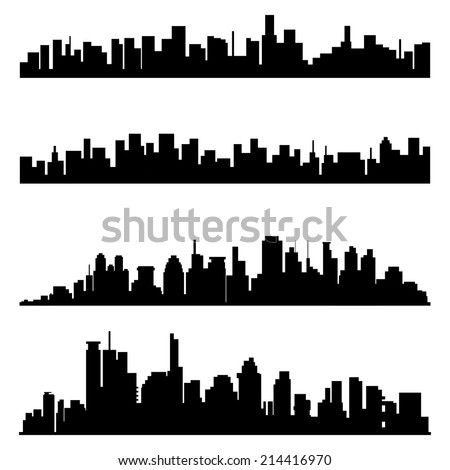 a set of black cityscapes on a white background - stock vector