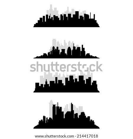 a set of black cityscapes on a white background