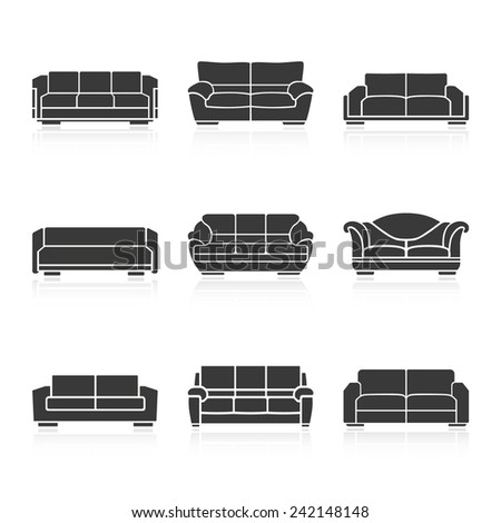 A set of black sofas on a white background. Vector - stock vector