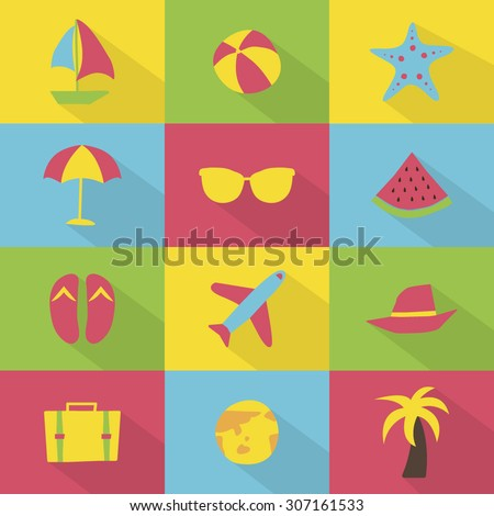 A set of blue colorful vector icons for summer vacation, background, pattern. pine apple, starfish, beach sandal, travel bag, hat, boat, palm tree, water melon, sunglasses, earth, ball, air plane.