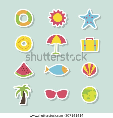 A set of blue colorful vector icons for summer vacation, background, pattern. water melon, fish, clam, shellfish, palm tree, sunglasses, earth, tube, sun, starfish, pine apple. ice cream, travel bag.