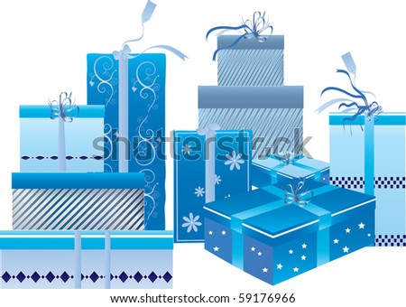 a set of blue gift boxes - stock vector