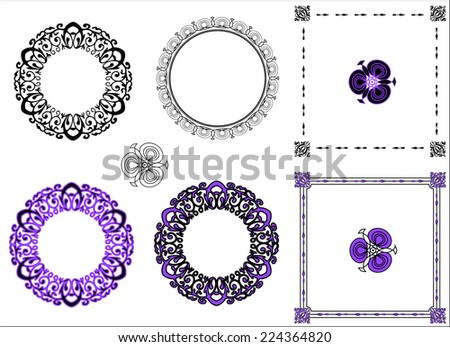 Set Bright Purple Black Round Square Stock Vector 224364820 ...