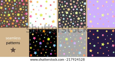 A set of bright seamless patterns with multicolored stars - stock vector