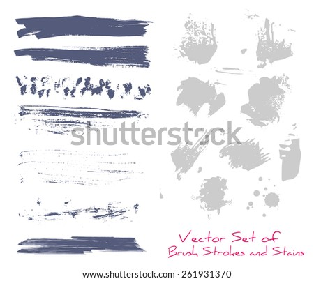 A set of brush strokes and blots/stains - stock vector