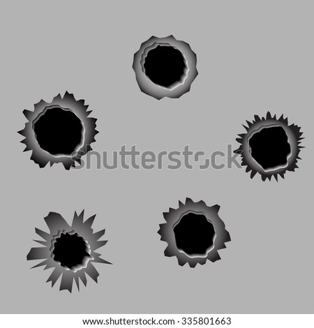 A set of 5 bullet holes, vector