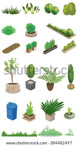 A set of bush and flower icons. illustration