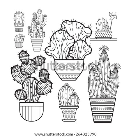 A set of cacti - line drawing. Vector illustration of a cactus isolated on a white background. Cactus in a pot. Cactus and children pinwheel, bow.The cactus blooms. - stock vector