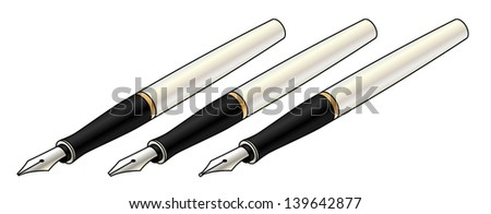 A set of calligraphy/fountain pens. Wide nib, narrow nib and round nib.