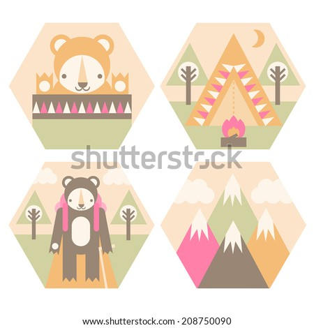 A set of camping badges including the mountains, a tent, a sleeping bag, and hiking. - stock vector