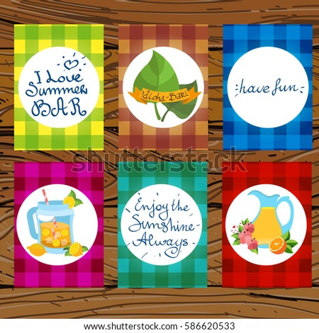 set cards create advertising production year stock vector 586620533