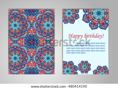 A Set Of Cards With Happy Birthday Old Oriental Motifs Ramadan Indian