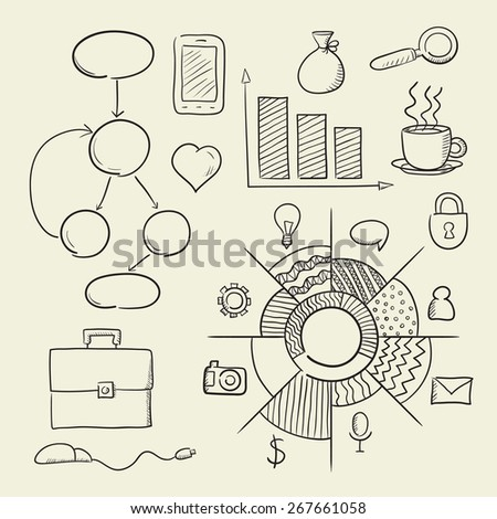 A set of cartoon elements Infographic - stock vector