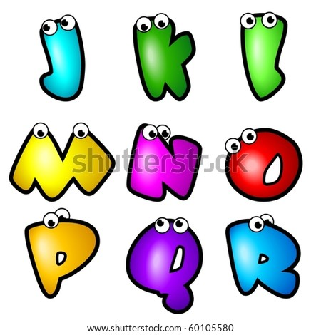A set of cartoon font type, letter J to R - stock vector