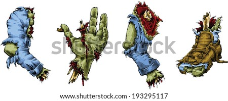 A set of cartoon zombie body parts.