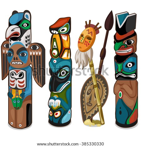 A set of ceremonial totems. Vector illustration. - stock vector