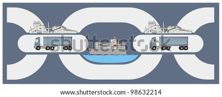 A set of chain links showing stages of a supply chain - vector logistics cartoon - stock vector