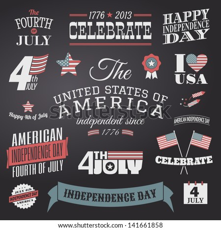 A set of chalkboard style typographic elements for Independence Day. - stock vector