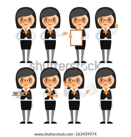 A set of characters in a flat style. Business woman in different poses. - stock vector