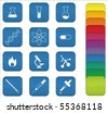 A set of chemistry icons with blue background, but can be changed to any color. - stock vector