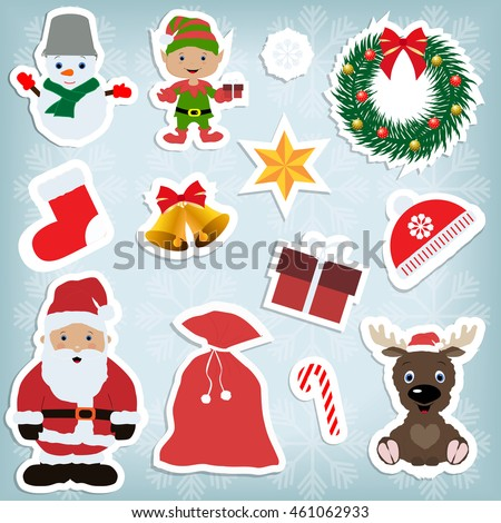 a set of children's Christmas decorative decal on light blue background with snowflakes: snowman, elf, wreath, sock, bell, star, Santa, bag, candy, deer, gift, hat