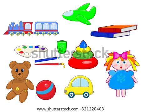 a set of children's items and toys