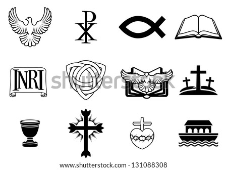 A set of Christian icons and symbols, including dove, Chi Ro, fish symbol, bible, INRI sign, trinity christogram, cross, communion cup, ark and more - stock vector