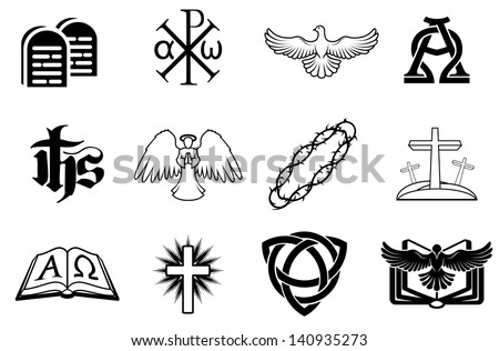 Set Christian Icons Including Angel Dove Stock Vector 140935273