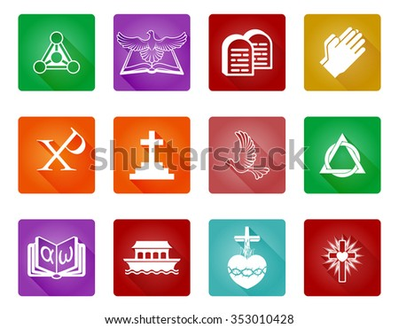 A set of Christian religious icons and symbols - stock vector