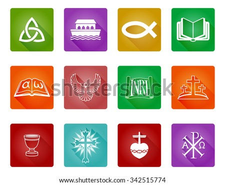 A set of Christian religious icons and symbols including Christian fish, crosses and others - stock vector